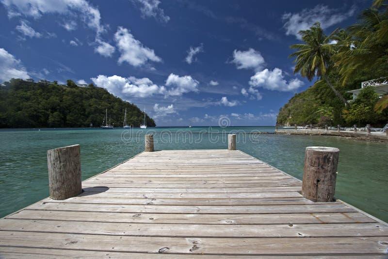 De Baai van Marigot, St. Lucia stock foto's