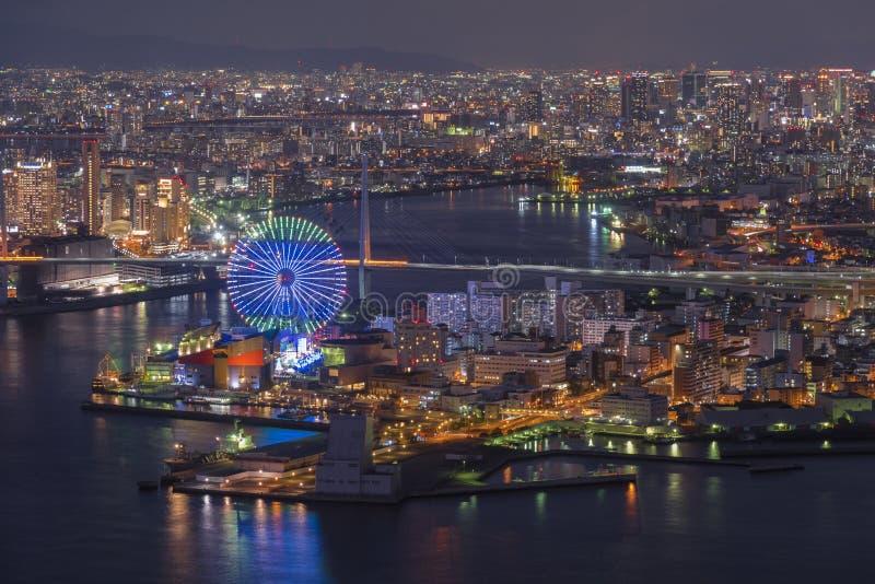 De baai van Osaka bij schemerweergeven op Cosmo-Toren Osaka Japan stock fotografie