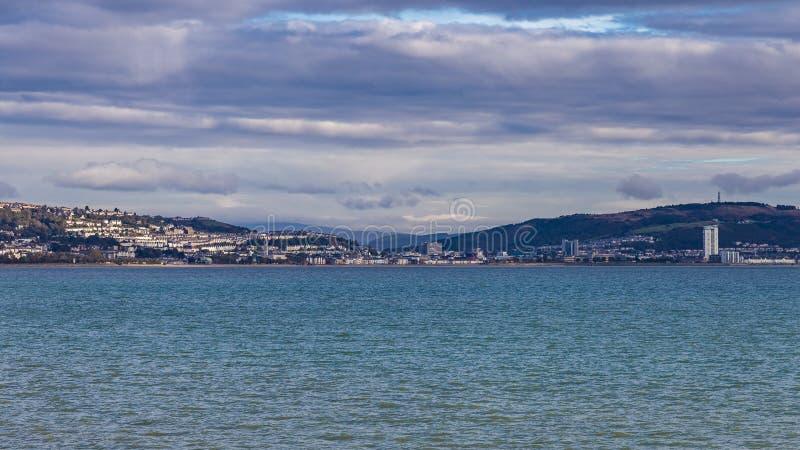 De Baai van Swansea, Wales, het UK royalty-vrije stock afbeeldingen