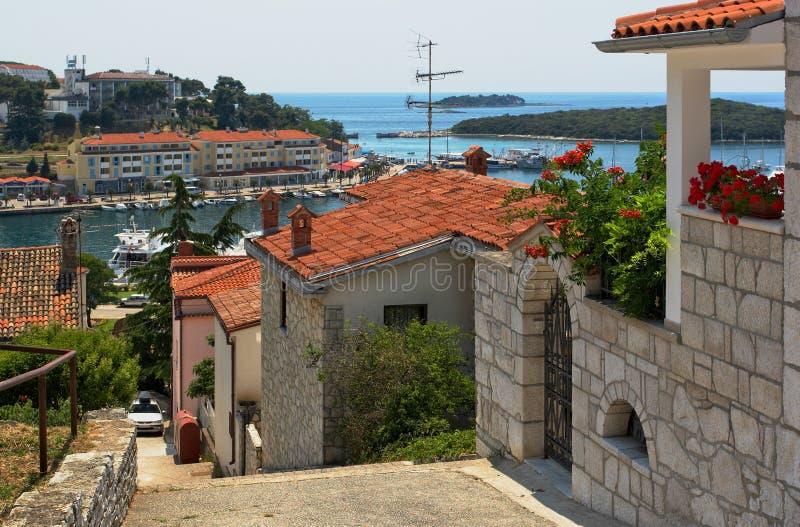De baai. Vrsar, Kroatië stock foto's