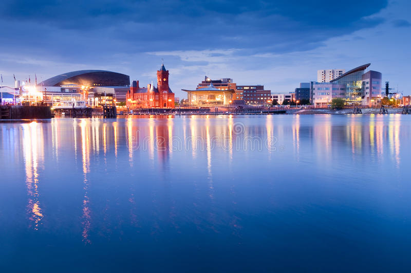 De Baaicityscape van Cardiff royalty-vrije stock afbeelding