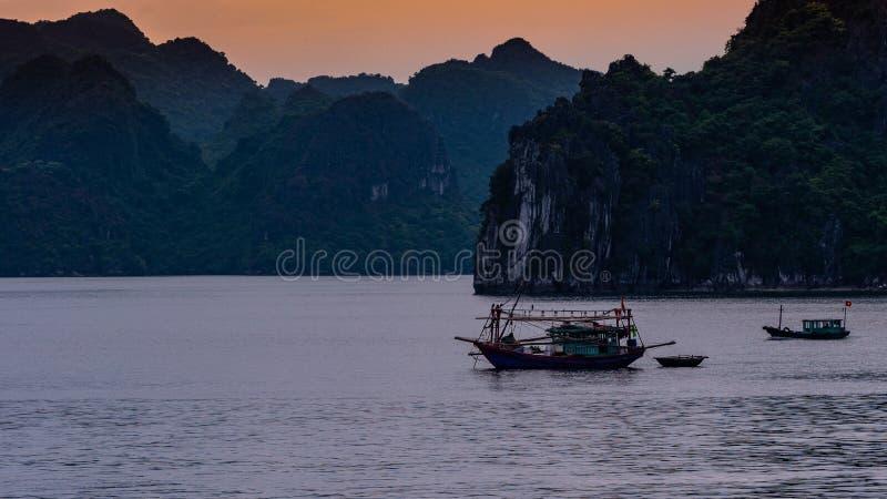 De Baairondvaart van Vietnam Halong stock afbeelding