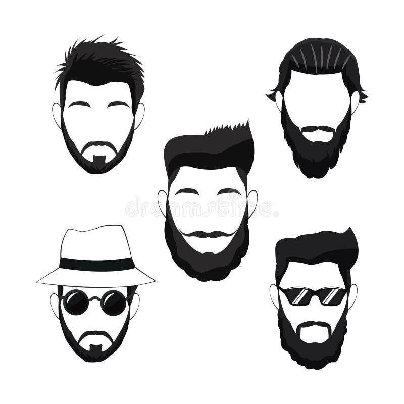 De baardhaar van inzamelings hipster mensen stock illustratie