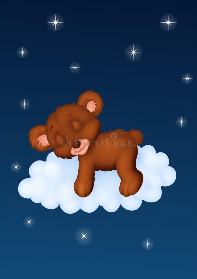 De baby draagt slaap op de wolk stock illustratie