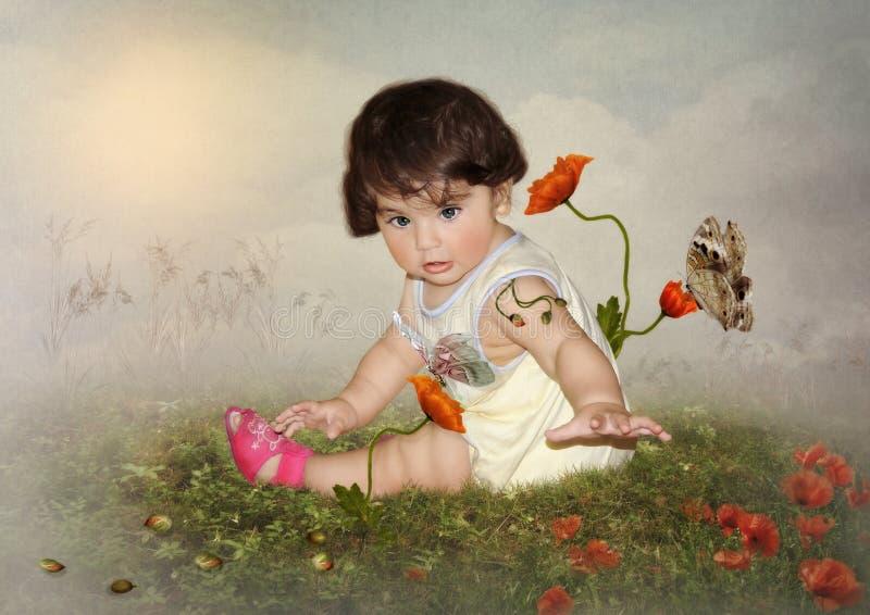 De baby en de vlinders stock fotografie