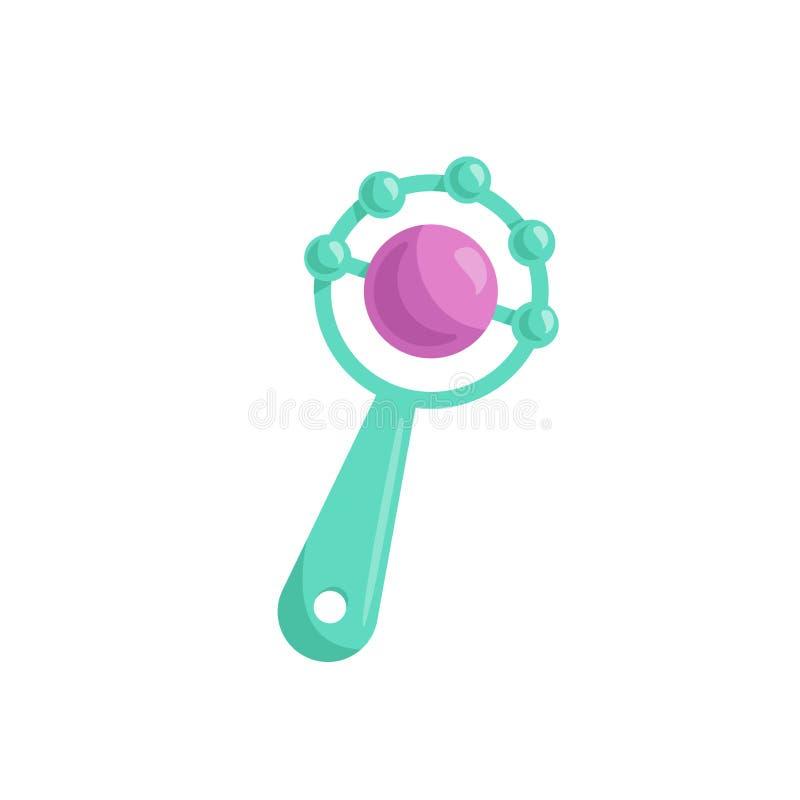De baby greenl rammelaar van het beeldverhaal in ontwerp met roze bal De vector eenvoudige bijkomende illustratie van het gradiën royalty-vrije illustratie