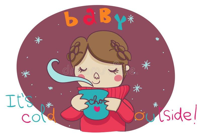De baby, het is koude buitenkant! beeldverhaal illustratie vector illustratie