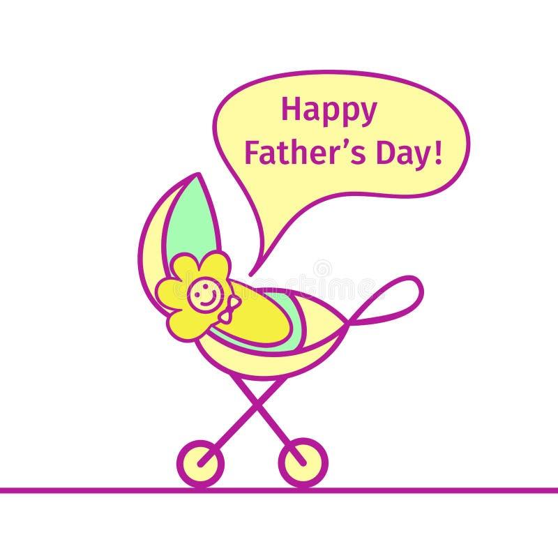 De baby in het vervoer gilt Gelukkige Vader` s Dag! vector illustratie