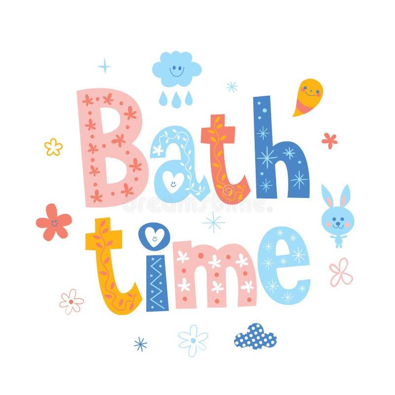 De baby van de badtijd het van letters voorzien ontwerp royalty-vrije illustratie