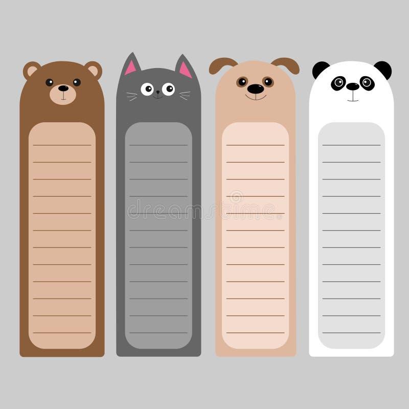 De baby van beeldverhaalkawaii draagt, kat, hond, panda Dierlijke hoofdreeks Referentiedocument stickerinzameling Blocnotemalplaa vector illustratie