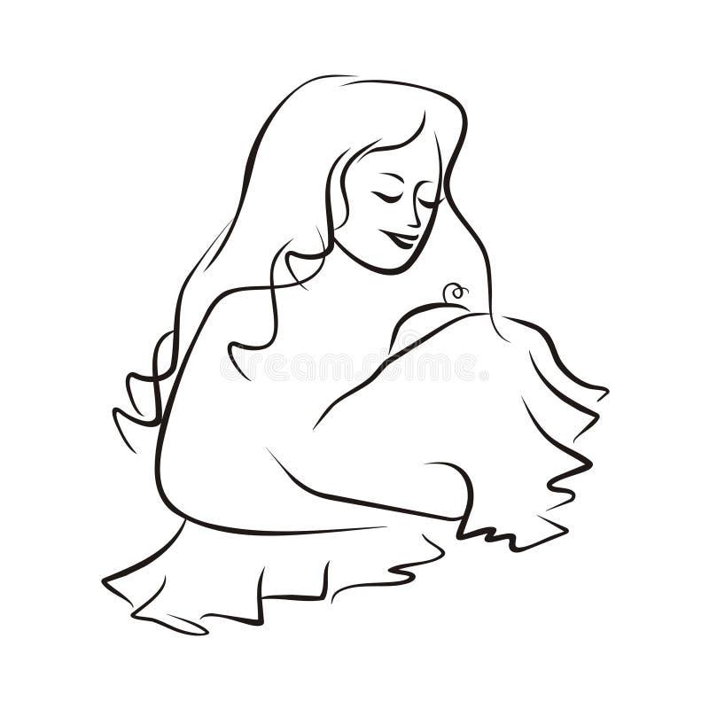 De Baby van de Holding van de moeder vector illustratie