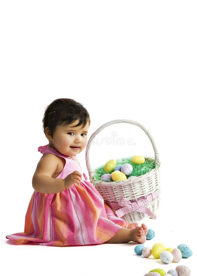 De Baby van de Mand van Pasen stock foto's