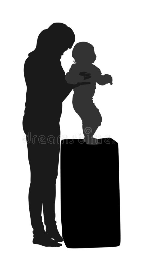 De baby van het moederonderwijs om te lopen, vector Het kindermeisje die van de kleuterschoolleraar met jong geitje werken Eerste vector illustratie