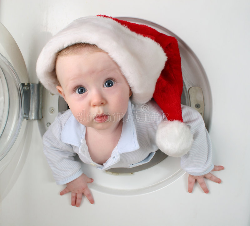 De baby van Kerstmis van wasmachine royalty-vrije stock afbeeldingen