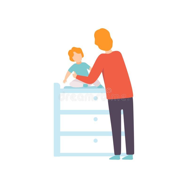De Baby van vaderdressing his toddler op Veranderende Lijst, Ouder die Zijn Kind Vectorillustratie behandelen royalty-vrije illustratie