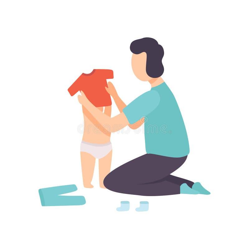 De Baby van vaderdressing his toddler, Ouder die Zijn Kind Vectorillustratie behandelen royalty-vrije illustratie