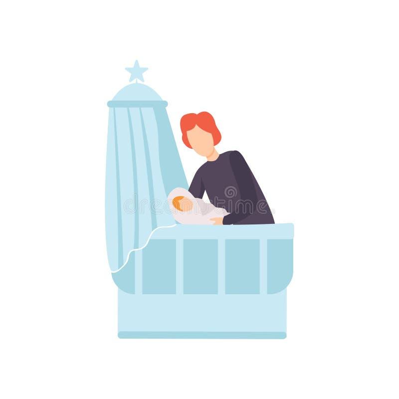 De Baby van vaderputting his newborn aan Bed, Ouder die Zijn Kind Vectorillustratie behandelen royalty-vrije illustratie