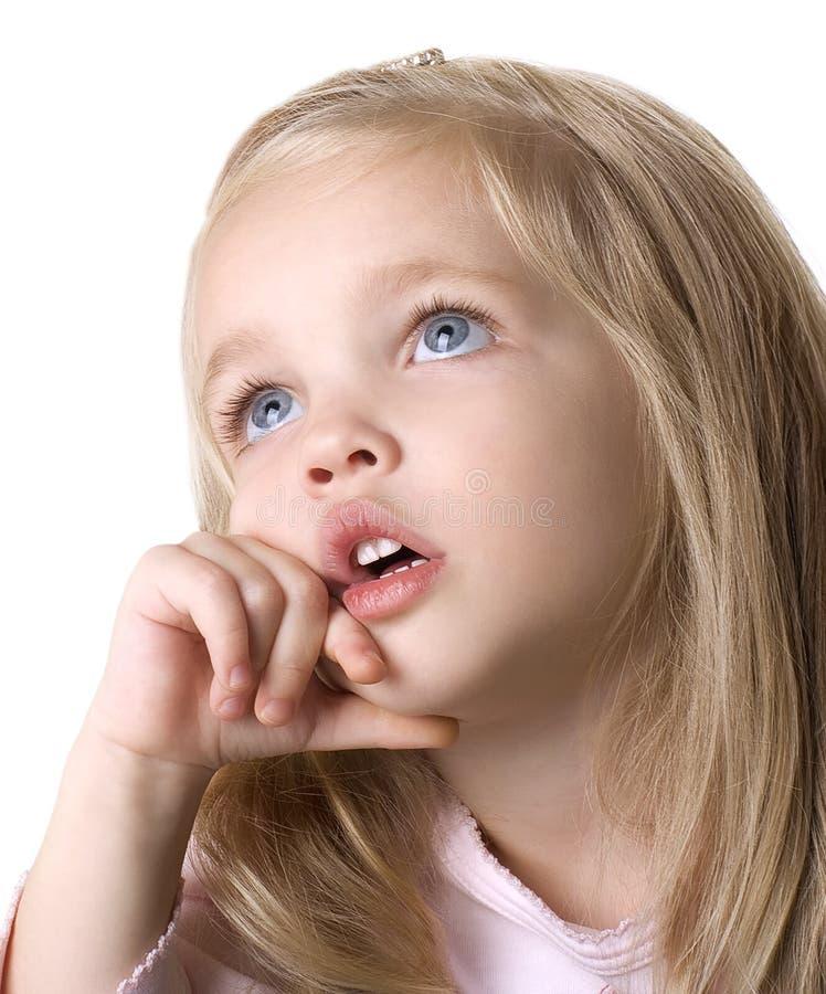 De babygezicht van de schoonheid op witte achtergrond royalty-vrije stock foto's