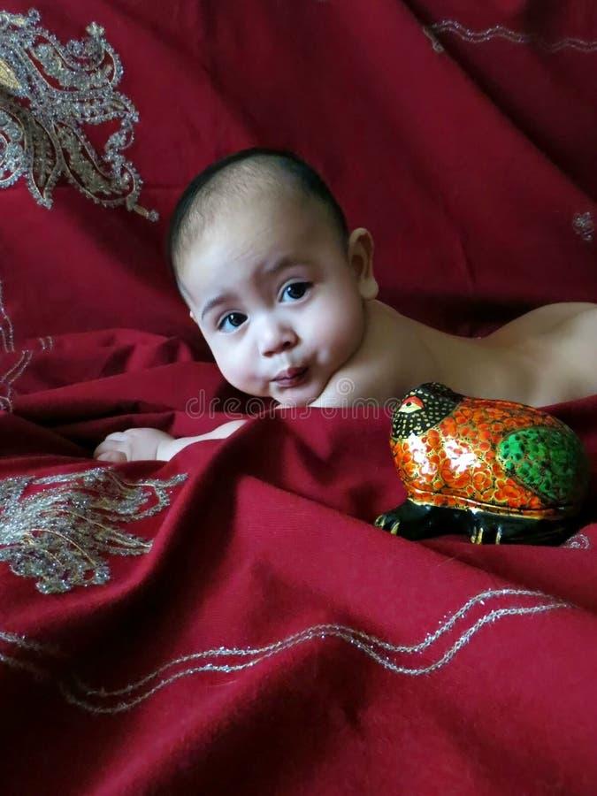 De babyjongen ligt op de Indische zilveren geborduurde donker-kersensjaal royalty-vrije stock foto