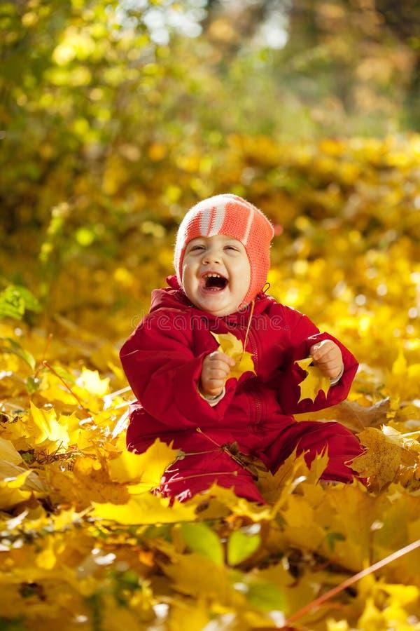 De babymeisje van éénjarigen in de herfstpark stock afbeelding