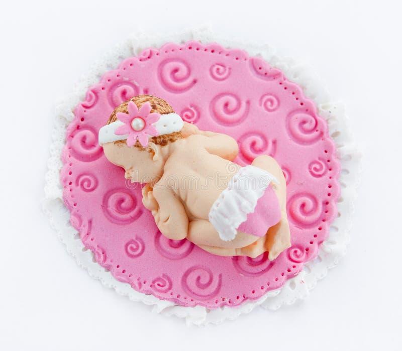 De babymeisje van de fondantjeslaap voor decoratiedoopsel of birthda royalty-vrije stock foto's