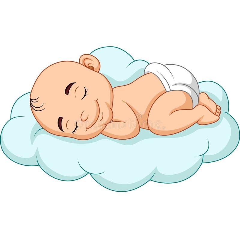 De babyslaap van het beeldverhaal op een wolk stock illustratie