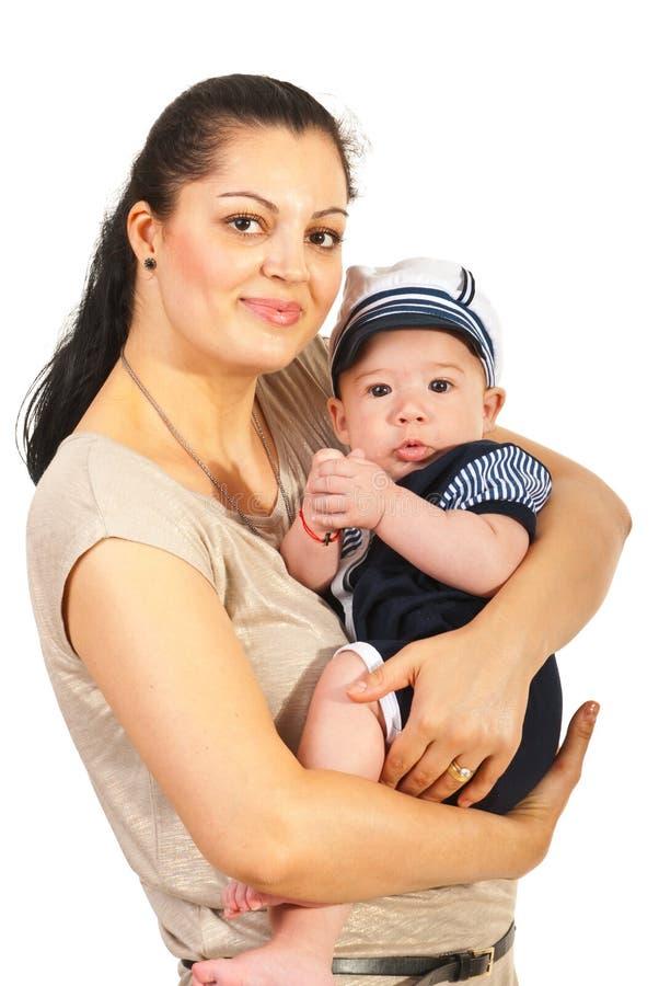 De babyzeeman van de mammaholding royalty-vrije stock foto's