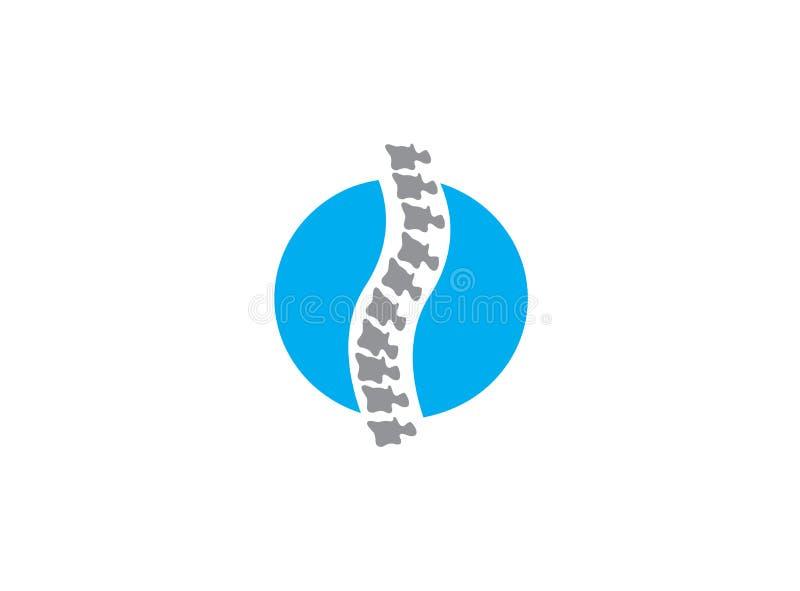 De Backdropesbeenderen omcirkelen gebied een ruggemerg voor medisch voor de illustratie van het embleemontwerp op witte achtergro vector illustratie