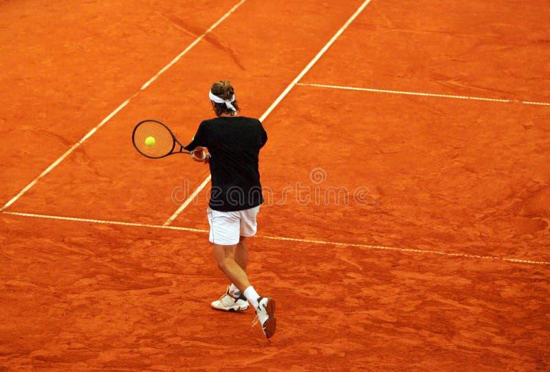 De backhand van het tennis stock afbeelding