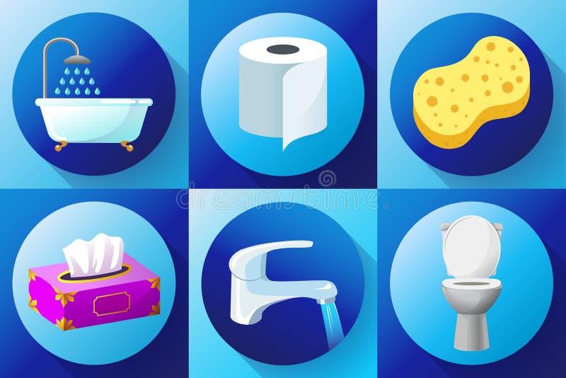 De badkamers kleurde pictogram vlak vastgestelde vector - Toilet, waterkraan, servetten, toiletpapier, handdoeken, douche, washan stock illustratie