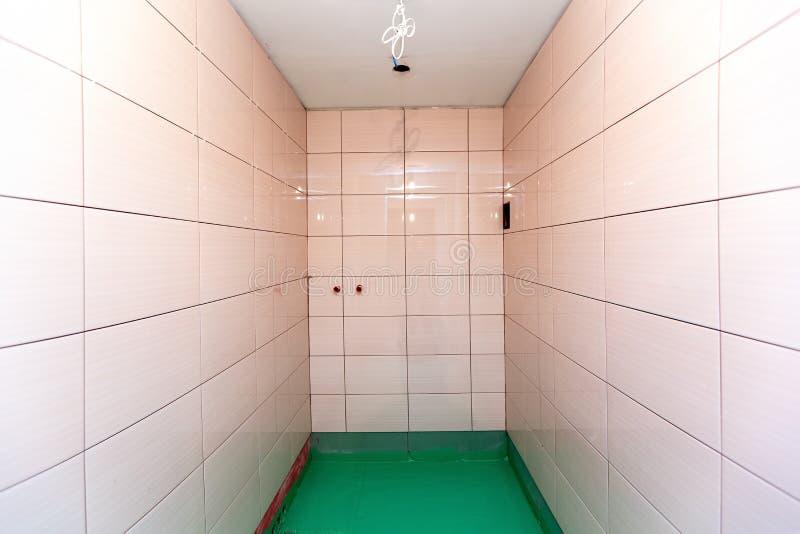 De badkamers met betegelde die muren en de vloer door groene gekleurde waterdicht wordt geschilderd beëindigen materiaal in flat  stock afbeelding