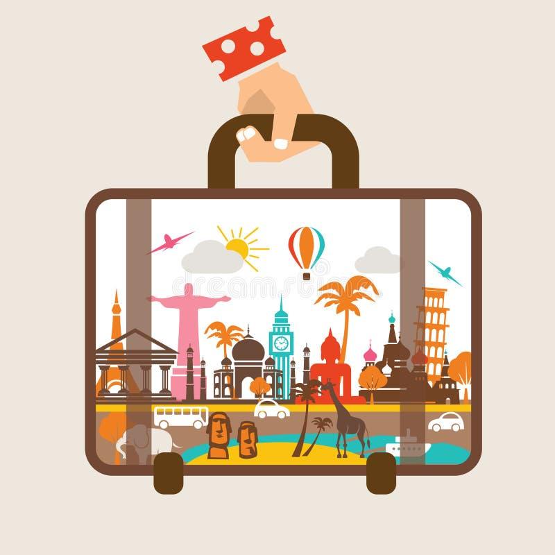 De bagage van de handholding, reis rond de wereld stock illustratie