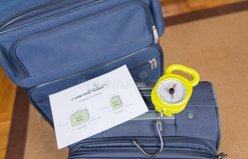 De bagagebeperkingen van lage kostenluchtvaartlijnen stock foto