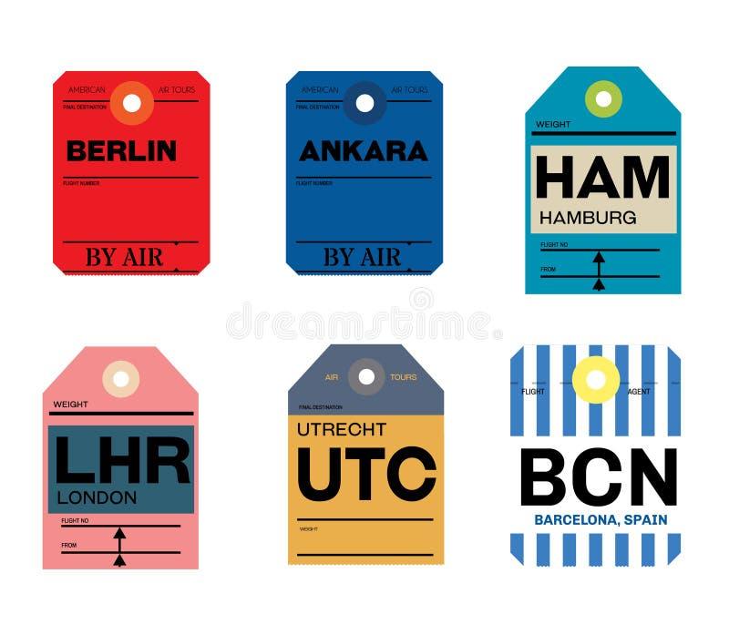 De bagagelabel van Berlijn Ankara Hamburg Utrecht Barcelona Londen vector illustratie