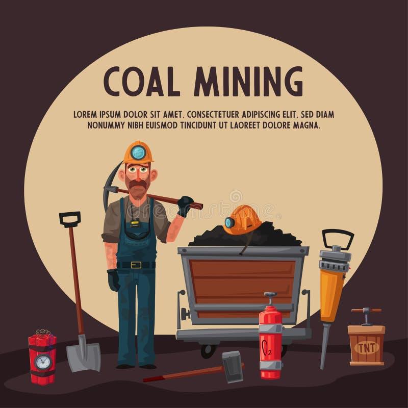 De baggermachine laadt de vrachtwagensteenkool Mijnwerkerskarakter en hulpmiddelen De vectorillustratie van het beeldverhaal vector illustratie