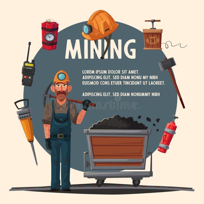 De baggermachine laadt de vrachtwagensteenkool Mijnwerkerskarakter en hulpmiddelen De vectorillustratie van het beeldverhaal stock illustratie