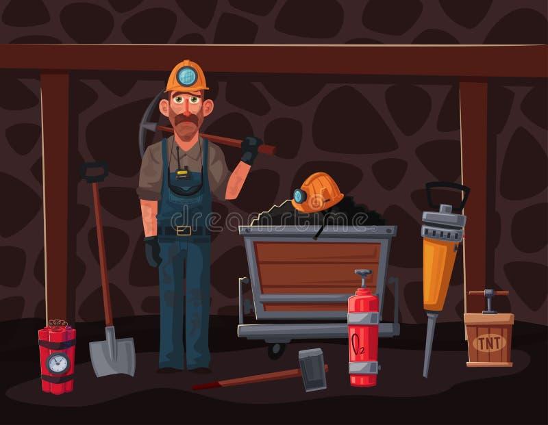 De baggermachine laadt de vrachtwagensteenkool Mijnwerkerskarakter en hulpmiddelen De vectorillustratie van het beeldverhaal royalty-vrije illustratie