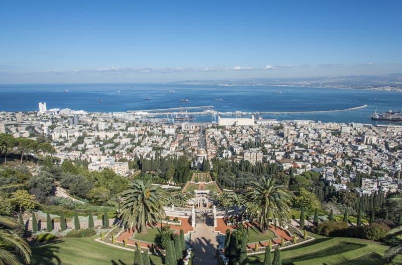 De Bahai-tuinen in Haifa stock afbeeldingen