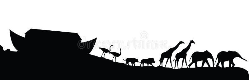 De bak en de dieren van Noeh die op wit wordt geïsoleerd,  vector illustratie