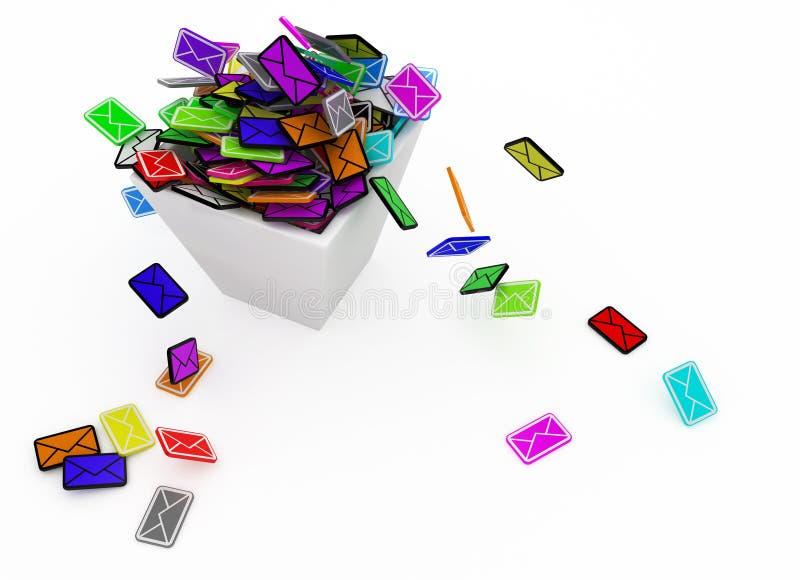De Bak van de kleur E-mail vector illustratie