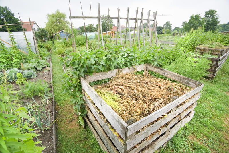 De Bak van het Compost van de tuin royalty-vrije stock afbeelding