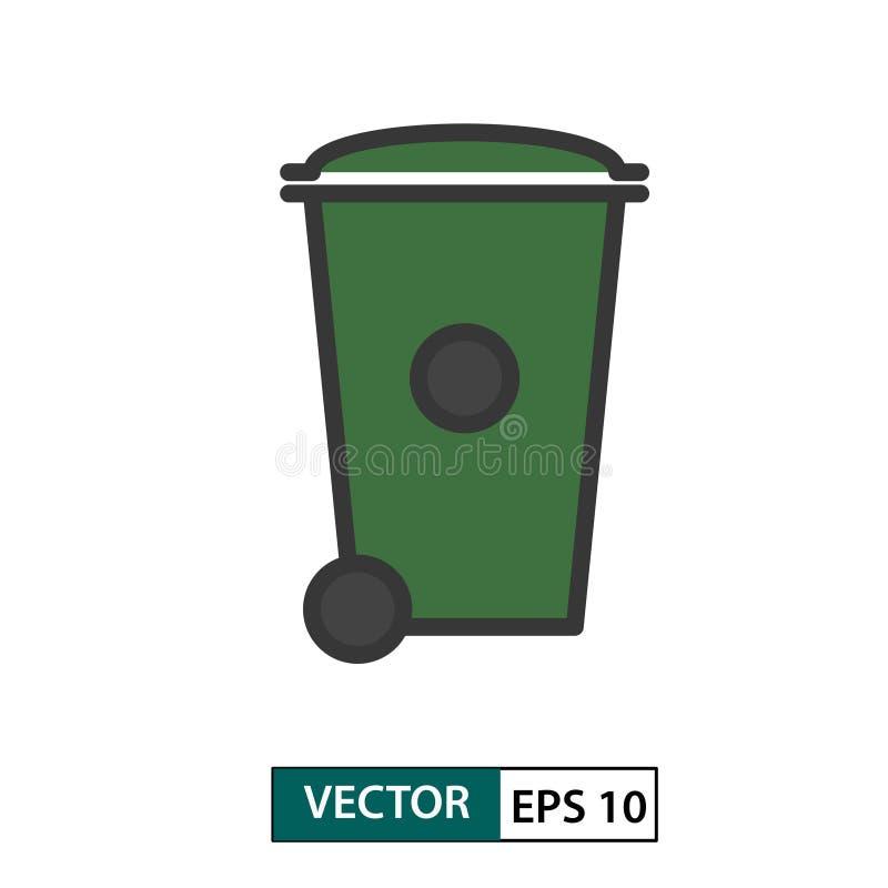 De bakpictogram van het afvalvuilnis wheelie Kleurenstijl Vector illustratie Eps 10 stock illustratie