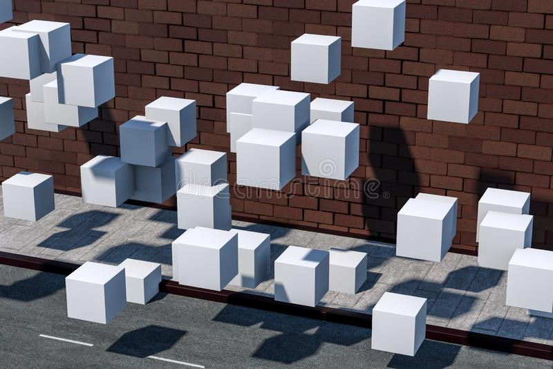 De bakstenen muur en hoogtestraat, het 3d teruggeven royalty-vrije illustratie
