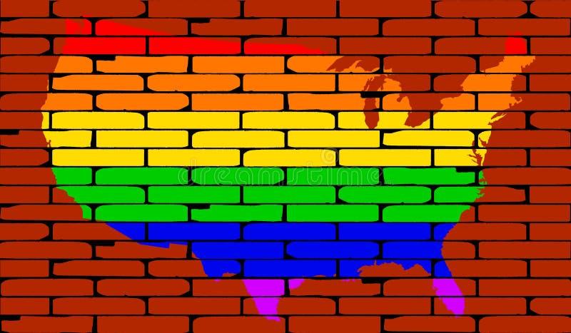 De Bakstenen muur van de de Kaartregenboog van LGBT de V.S. stock illustratie