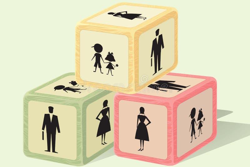 De bakstenen van de familie royalty-vrije illustratie