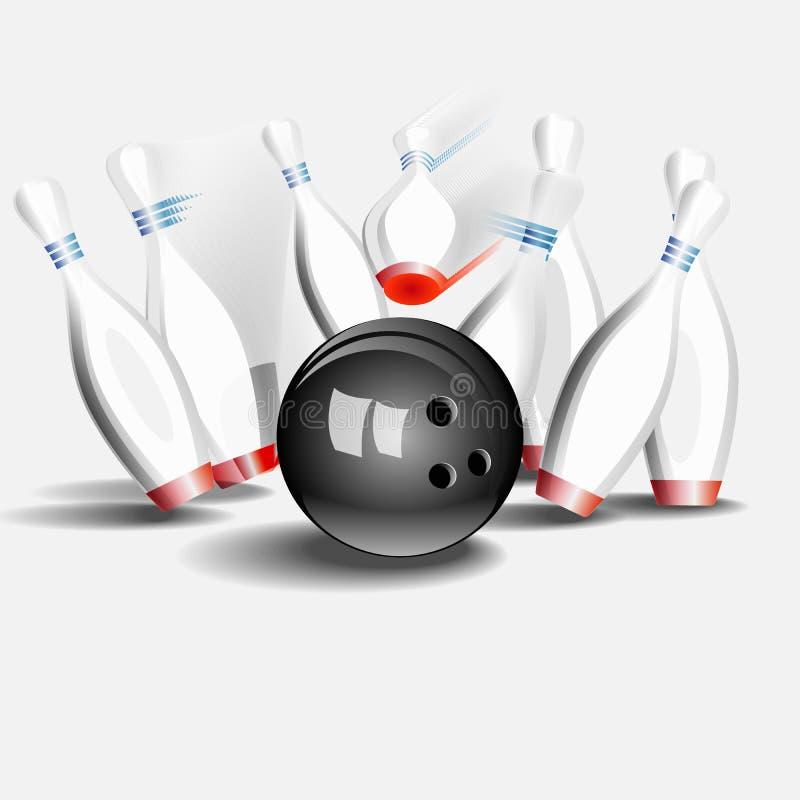De bal die van het kegelen in de spelden verplettert Op een witte achtergrond stock illustratie