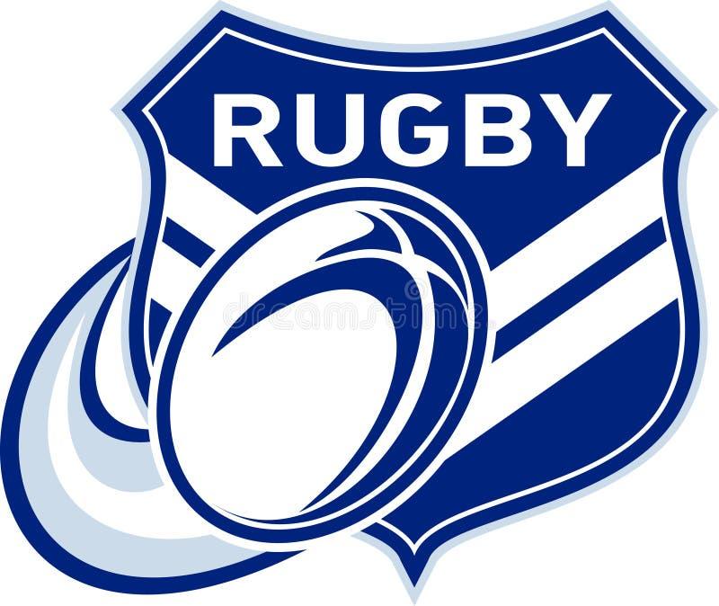 De bal die van het rugby met schild vliegt royalty-vrije illustratie