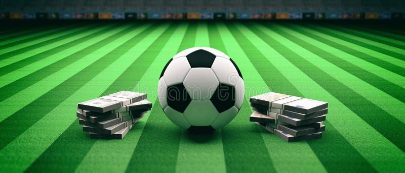De bal en de bankbiljetten van de voetbalvoetbal op een gebiedsachtergrond 3D Illustratie stock illustratie