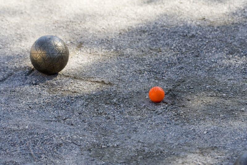 De bal en de hefboom van Bocce royalty-vrije stock foto