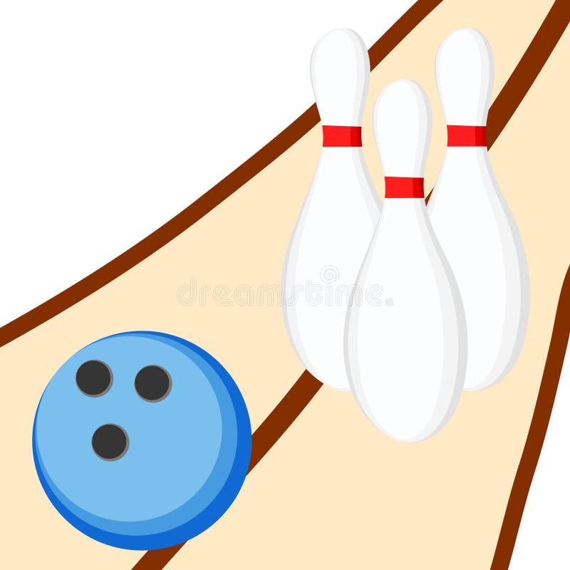 De bal en de spelden van het kegelen Vector illustratie stock illustratie